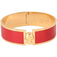 Alexander Mcqueen Bracelet ($260) ❤ liked on Polyvore featuring jewelry, bracelets, red, brass jewelry, alexander mcqueen bangle, alexander mcqueen jewelry, alexander mcqueen and red jewelry