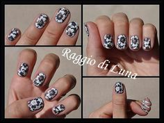 Born Pretty Store review: Stamping plate 春の歌-L007, Blue metal clear jelly silicone stamper with scrapers and Manicure saver cotton claw - White flowers on black holo