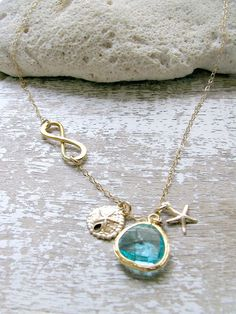 Personalized Infinity Necklace,Infinity,Starfish Necklace,Sanddollar,14k Gold Filled,Aqua Gemstone Necklace,Beach Wedding,Bridesmaid Gift by LetItBeLove on Etsy