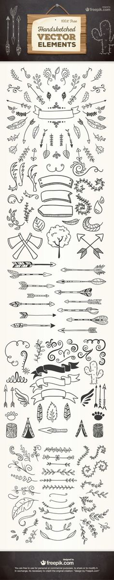 Free Hand Sketched Vector Elements | hand drawn borders floral outdoor native american graphic elements