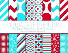 Just Peachy Designs: Free Red and Aqua Digital Paper Set