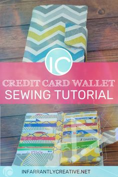 Credit Card Wallet Sewing Tutorial - Credit Card Hacked - Ideas of Credit Card Hacked - This sewing project will keep you organized. The Credit Card Wallet Sewing Tutorial will hold all those store cards credit cards etc and fit inside your purse! Wallet Sewing Pattern, Sewing Patterns Free, Free Sewing, Free Pattern, Sewing Hacks, Sewing Tutorials, Sewing Tips, Tutorial Sewing, Diy Tutorial