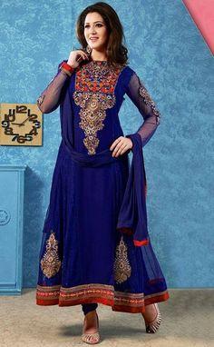 Blue Salwar Kameez Bollywood Indian Dress Pakistan Anarkali Suit