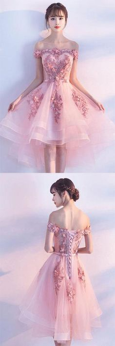 Pink Lace Tulle Short Prom Dress,Off-the-Shoulder Appliques Lace up Homecoming Dresses PH407#highlow#offshoulder#elegant#pink#homecomingdress#short