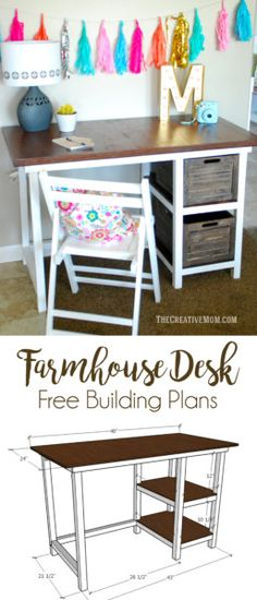DIY Farmhouse Desk (free building plans)