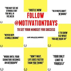 Follow @motivation7days to set your mindset for success! Daily motivation and business tipps. Check out @motivation7days @motivation7days @motivation7days