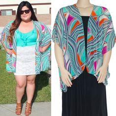 c771434420aba New Womens Plus Size Cardigan Printed Geometric Multi Color Soft XL XXL 1X  2X 3X