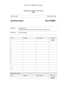 auction program template - sample bid sheet out of greater giving eso software