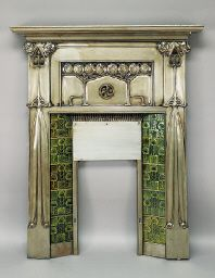 Art Nouveau tiled metal fireplace surround - The design is attributed to John Ednie, circa Art Nouveau Interior, Art Nouveau Furniture, Art Nouveau Architecture, Art Nouveau Design, Art And Architecture, Art Deco Fireplace, Metal Fireplace, Fireplace Surrounds, Vintage Fireplace