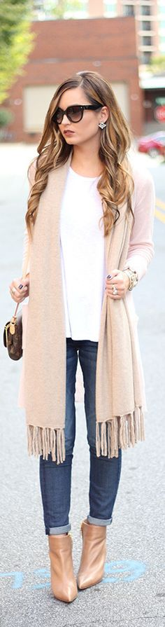 Tan Cashmere Fringed Scarf Fall Inspo by For All Things Lovely Fall Winter Outfits, Autumn Winter Fashion, Winter Style, Denim Fashion, Womens Fashion, Fashion Trends, Boho Fashion, For All Things Lovely, All About Fashion