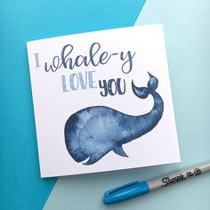 Whale-y Love You - Boyfriend Girlfriend Card - Birthday - Whale - Under the Sea - Anniversary Card - Valentine's Day - Whale Card by ChantillyDesignsShop on Etsy https://www.etsy.com/uk/listing/518563333/whale-y-love-you-boyfriend-girlfriend