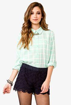 Grid Pattern Georgette Shirt | FOREVER21 - 2021319648