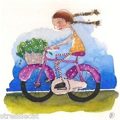 Girl on her bike... riding with daisy's