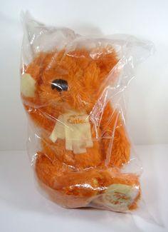"Star Warner Fluffy Plush 12"" Teddy Bear Tofutti Cuties Orange Bear Non Dairy #TofuttiCuties"