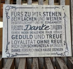 Holz Tafel | Das kleine Stück: Danke sagen von Die Spruchstücke Manufaktur auf DaWanda.com Style Shabby Chic, German English, Reality Check, Label Design, Germany, Etsy, Material, Vintage, Chalkboard