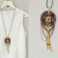 Asymmetrical Ecofriendly brown handmade necklace dream by ATLIART