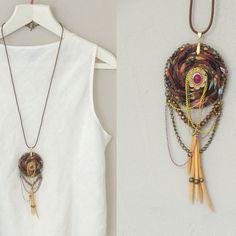 Asymmetrical Ecofriendly brown handmade necklace dream by ATLIART