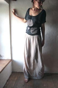 Maxi Skirt - long grey floor length gathered skirt - slitted womens long skirt