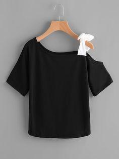 Casual Simples Ombro Frio Preto Camisetas Roupas Essenciais 18d993c3266
