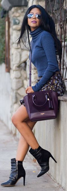 Short skirt and high heel booties.