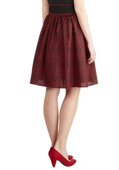Gotta Love It Skirt. What retro-inspired fashionista doesnt love a heart-dotted skirt that flaunts a classic A-line silhouette? #red #modcloth
