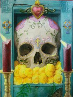 Calavera by Robert Valadez. Acrylic on canvas