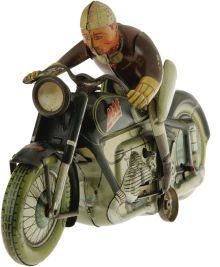 "Antiques:Toys, Arnold MAC 700 Mechanical Wind-up Motorcycle.. Tin litho,manufactured in Germany in 1947, 7.5"" long x 4.5"" tall, Ar..."