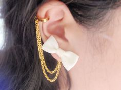 Ivory White Ribbon Bow Double Gold Chain Ear Cuff (Pair): $10.95