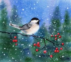 CHICKADEE 11 watercolor bird animal landscape painting, painting by artist Barbara Fox