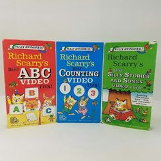 Richard Scarrys VHS Videos Lot of 3 ABC Counting Silly Stories Songs Play Tested