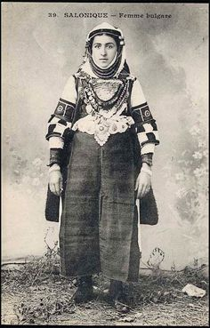 bulgarian in solun Folk Costume, Costumes, Greek Traditional Dress, Royal Clothing, Historical Costume, Old Pictures, Fashion History, Culture, Women