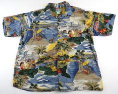 Reyn Spooner Hawaiian Shirt TPA Trans Pacific Airlines 100% Spun Rayon #ReynSpooner #Hawaiian