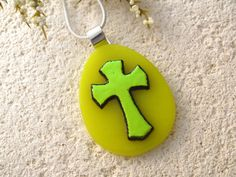Cross Egg Pendant or Brooch  Fused Glass Jewelry  by ccvalenzo