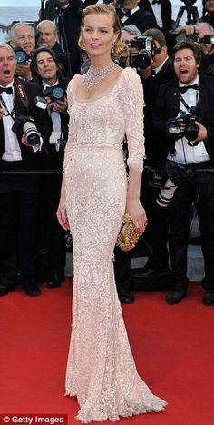 Stunning in silhouette  Eva Herzigova s translucent dress revealed her  slender outline underneath Sequin Party Dress 03882e19df53
