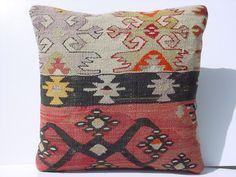 "MODERN Bohemian Home Decor,Turkish Kilim Pillow Cover  18"" X 18"",Tribal Pillow,Vintage Kilim Pillow,Throw Pillow"