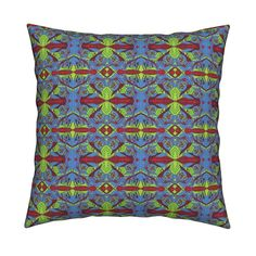 Catalan Throw Pillow featuring TRICHROMATIC DELIRIUM OCEAN PASTURE GEOMETRIC by paysmage | Roostery Home Decor
