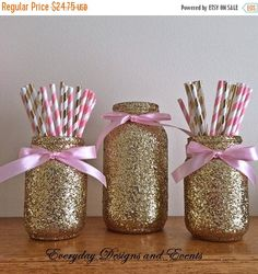 SALE Pink and gold mason jar set, pink and gold baby shower, pink and gold first birthday, birthday decorations, pink and gold party, gold j by EverydayDesignEvents on Etsy https://www.etsy.com/listing/235143667/sale-pink-and-gold-mason-jar-set-pink