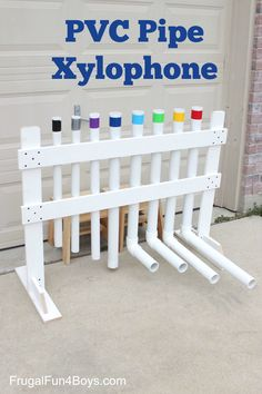 to Make a PVC Pipe Xylophone Instrument How to Make a PVC Pipe Xylophone Instrument - Play real songs on this, and the sound is really neat.How to Make a PVC Pipe Xylophone Instrument - Play real songs on this, and the sound is really neat. Homemade Musical Instruments, Diy Instrument, Music Instruments, Pvc Pipe Projects, Diy Projects, Outdoor Playground, Playground Ideas, Music Wall, Outdoor Classroom