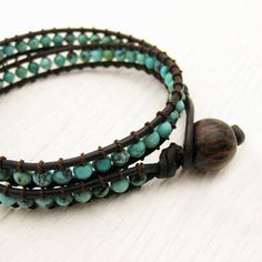 Natural Turquoise Leather Wrap Bracelet w/ Coconut Wood by byjodi, $185.00