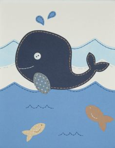 Whale Nautical Nursery Art, Boy Wall Art, Nursery Decor, Custom Sewn Paper Collage 8 x 10