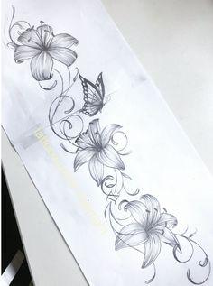 Blumen-Tattoo-Design - My list of best tattoo models Vine Tattoos, Leg Tattoos, Body Art Tattoos, Sleeve Tattoos, Tattoo Forearm, Lily Tattoo Sleeve, Tattoo Shoulder, Trendy Tattoos, Tattoos For Guys