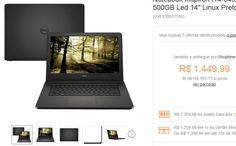 "Notebook Dell Inspiron I14-5452-D03P Intel Pentium Quad Core 4GB 500GB Led 14"" Linux Preto << R$ 130499 >>"