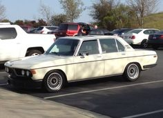 "1971 BMW 2800  16"" Alpina wheels and nice drop.   Ever so slightly raked."