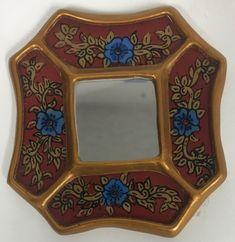 Peruvian reverse painted glass decorative wall art red