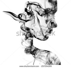 Double exposure portrait of young woman and cigarette smoke. - stock photo