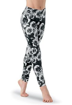 Affordable alternative for cute work out clothing. Rose Print Leggings | Dancewear Solutions