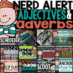 NERD ALERT ADJECTIVES AND ADVERBS! 2nd grade practice, task cards, games, and flip flap resources for adjective and adverb practice