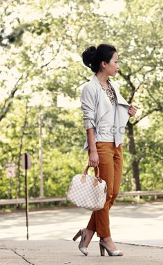 Blazer: H Cropped pants: H  Tee: H Shoes: Banana Republic; Bag: LV Speedy 25; Necklace: Talbots