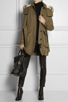 Burberry Brit Raccoon and shearling-trimmed canvas parka NET-A-PORTER.COM