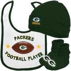 Gerber Green Bay Packers Newborn White-Green 3-Piece Bib, Bootie & Beanie Set
